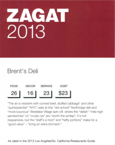 Zagat names Brent's Deli best deli, top 5 restaurant