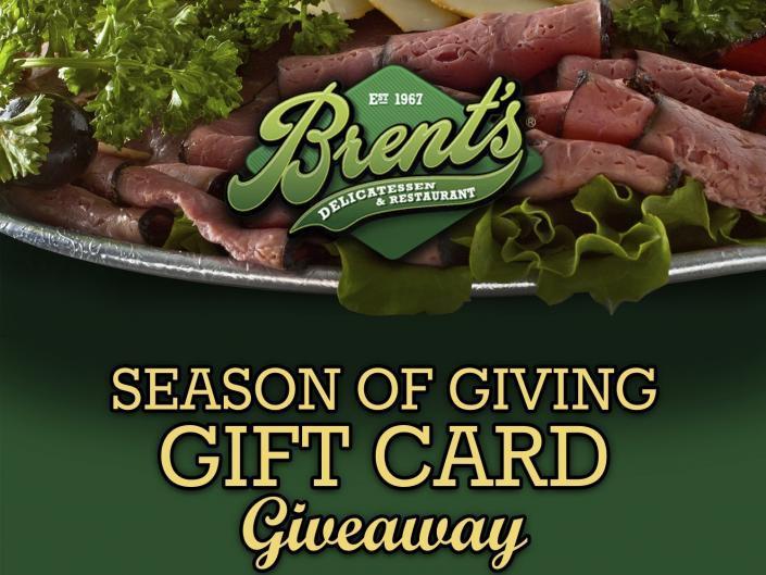 Brent's Deli Season of Giving Gift Card Giveaway Northridge Westlake Village Los Angeles restaurant delicatessen holiday promotion