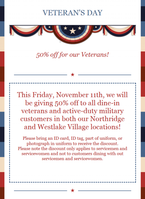 Veteran's Day Nov. 11th