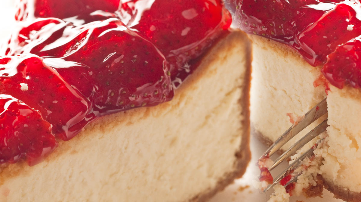 Enjoy straw cheese cake and fork at your favourite restaurant Brent's Deli