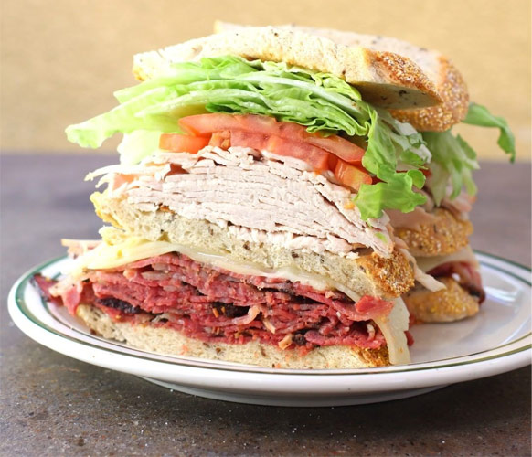 Hot Pastrami Triple-Decker Sandwiches
